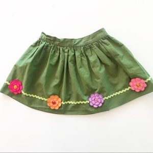 Gymboree Green Flower Appliqué Skirt